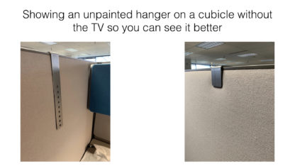 Simple TV Monitor Mount for 2 inch Cubicle Hanging Mount Showing Use